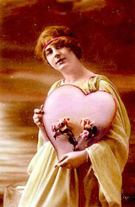 Antigua tarjeta postal 1910 del día de San Valentín