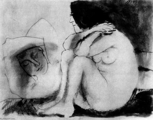 Hombre dormido y mujer sentada. Pablo Picasso